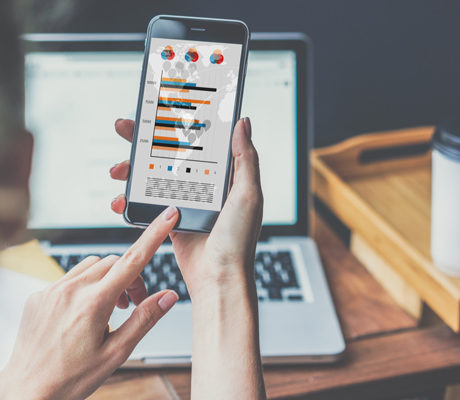 Hand holding smartphone, digital marketing