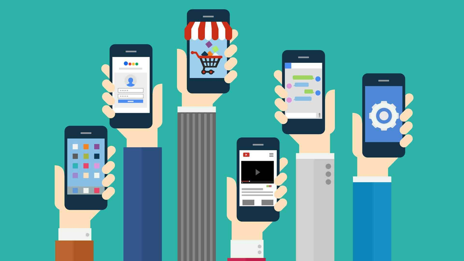 Animated hands holding smartphones. Mobile trends